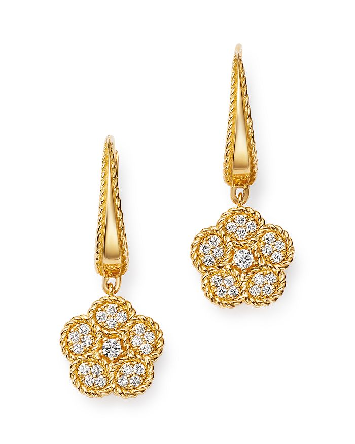 18k Yellow Gold Daisy Diamond Drop Earrings 100 Exclusive