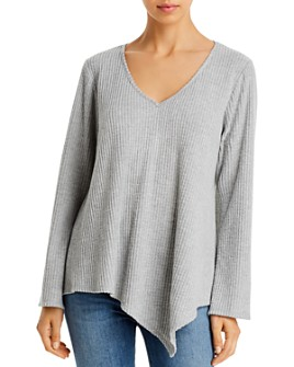 Status by Chenault - Asymmetric-Hem Waffle-Knit Top