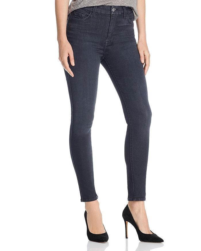 7 For All Mankind High Waisted Ankle Skinny Jeans In B Air Evening Gray Bloomingdale S