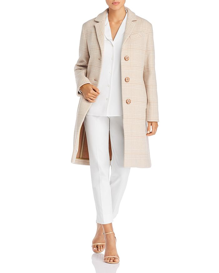 Cinzia Rocca Icons Plaid Wool-blend Coat In Camel Plaid