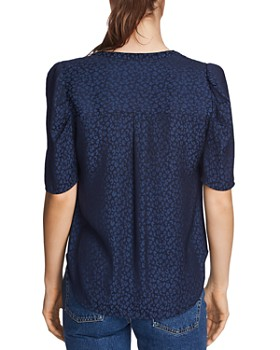 1.STATE - Puff-Sleeve Leopard Print Blouse