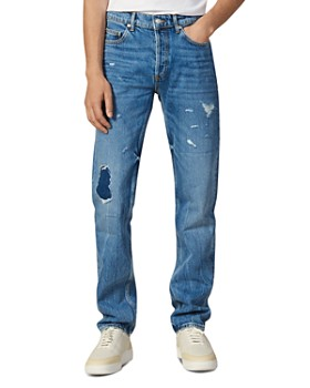 Sandro - Washed Destroy Slim Fit Jeans in Blue Vintage Denim