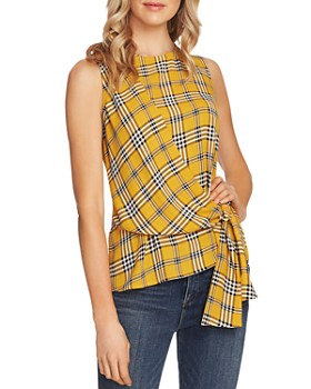 VINCE CAMUTO - Asymmetric Tie Plaid Top