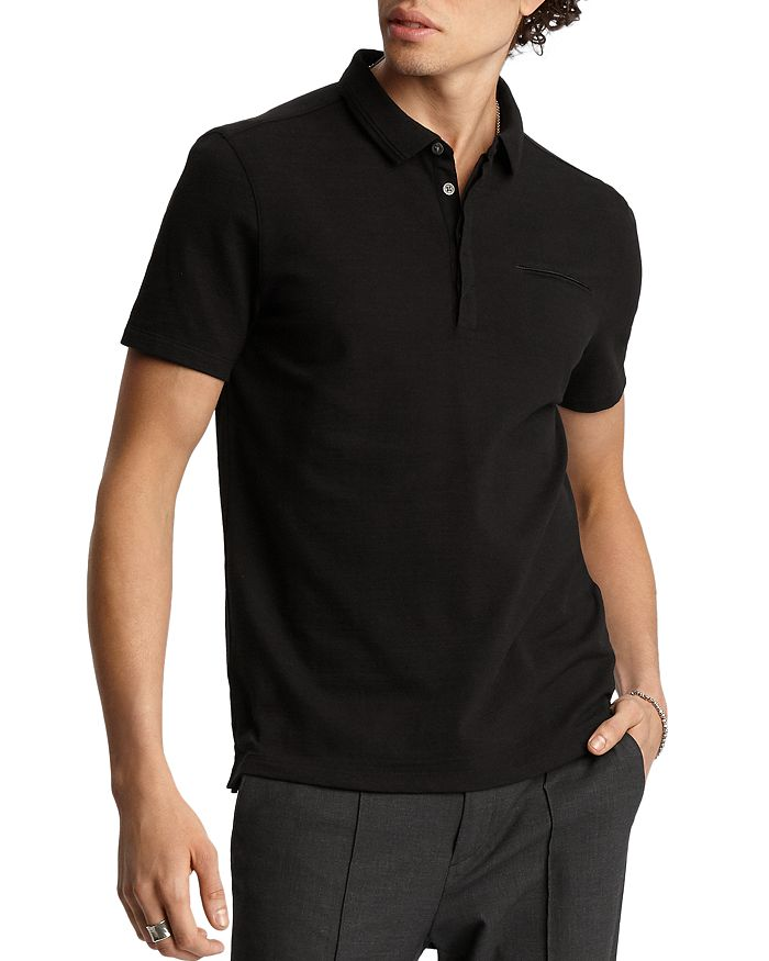 John Varvatos Regular Fit Polo Shirt In Black