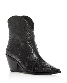 Anine Bing - Women's Croc-Embossed High-Heel Cowboy Boots