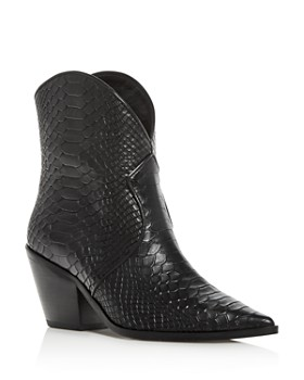 Anine Bing - Women's Croc-Embossed High-Heel Cowboy Boots