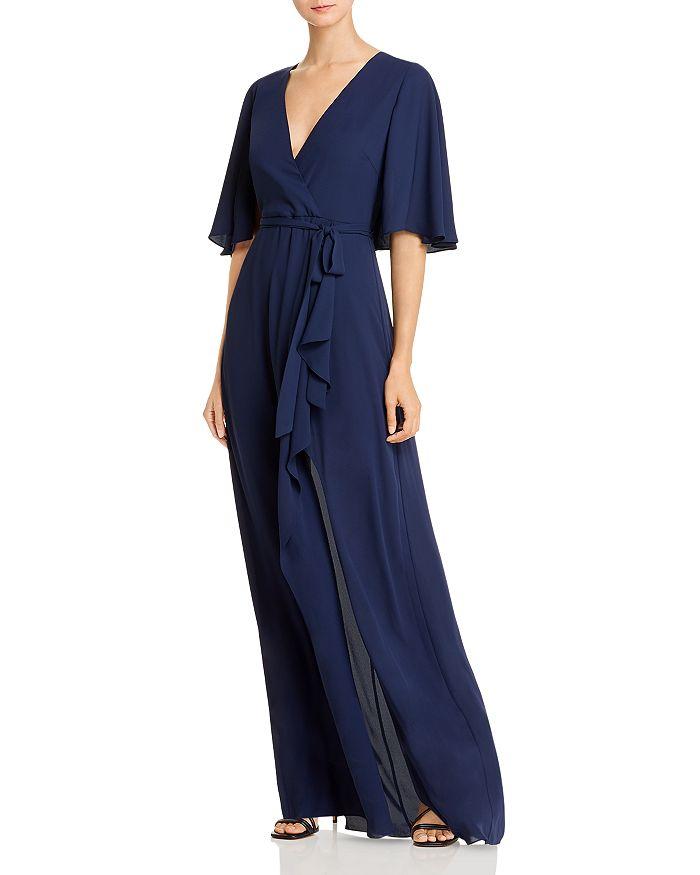 BCBGMAXAZRIA - Georgette Faux-Wrap Capelet Gown