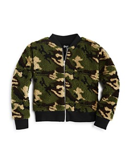 Flowers by Zoe - Girls' Camo Sherpa Bomber Jacket - Big Kid