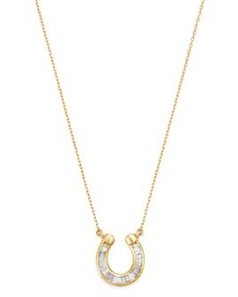 """Adina Reyter - 14K Yellow Gold Diamond Horseshoe Pendant Necklace, 16"""""""