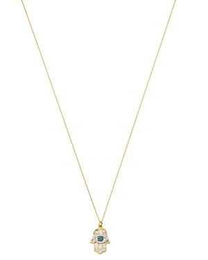Adina Reyter 14K Yellow Gold White & Blue Diamond Hamsa Pendant Necklace, 16