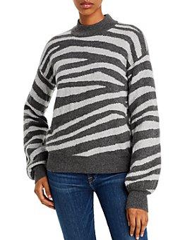 AQUA - Zebra-Stripe Balloon-Sleeve Cashmere Sweater - 100% Exclusive