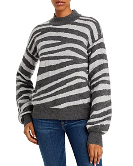 AQUA - Zebra-Stripe Balloon-Sleeve Cashmere Sweater - 100% Exclusive