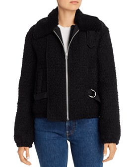 Helmut Lang - Convertible Shearling and Tweed Bomber Jacket