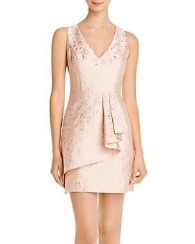 BCBGMAXAZRIA - Metallic Jacquard Ruffle Dress