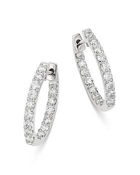 Bloomingdale's - Diamond Inside-Out Oval Hoop Earrings in 14K White Gold, 1.0 ct. t.w. - 100% Exclusive