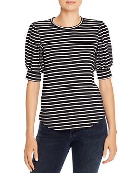 FRAME - Balloon-Sleeve Striped Tee