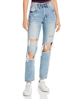 Pistola - Presley High-Rise Distressed Straight-Leg Jeans in Medium Blue
