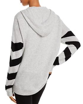 Minnie Rose - Striped-Sleeve Cashmere Hoodie