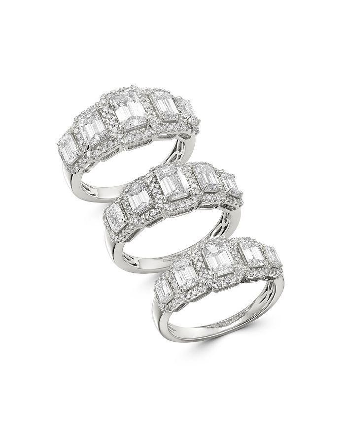 Bloomingdale S Emerald Cut Diamond 5 Stone Ring In 14k White Gold
