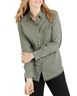 Foxcroft - Haven Frayed-Hem Blouse