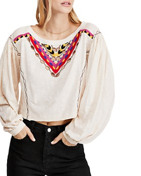 Free People - Hand Me Down Embroidered Cropped Top
