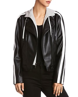 Bailey 44 - Striped-Sleeve Leather Moto Jacket