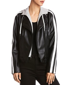 Bailey 44 - Striped-Sleeve Leather Moto Jacket