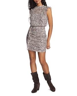 1.STATE - Sleeveless Ruffled Snakeskin-Print Dress