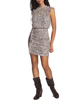 1.STATE - Sleeveless Ruffled Snakeskin-Print Dress
