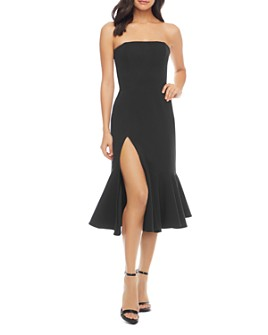 Dress the Population - Madison Strapless Fluted Midi Dress