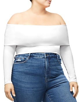 Good American - Ribbed Popover Off-the-Shoulder Top