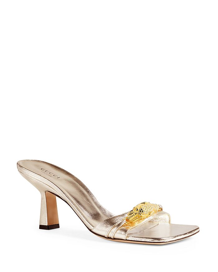 Gucci - Women's Metallic Leather Slide Sandals