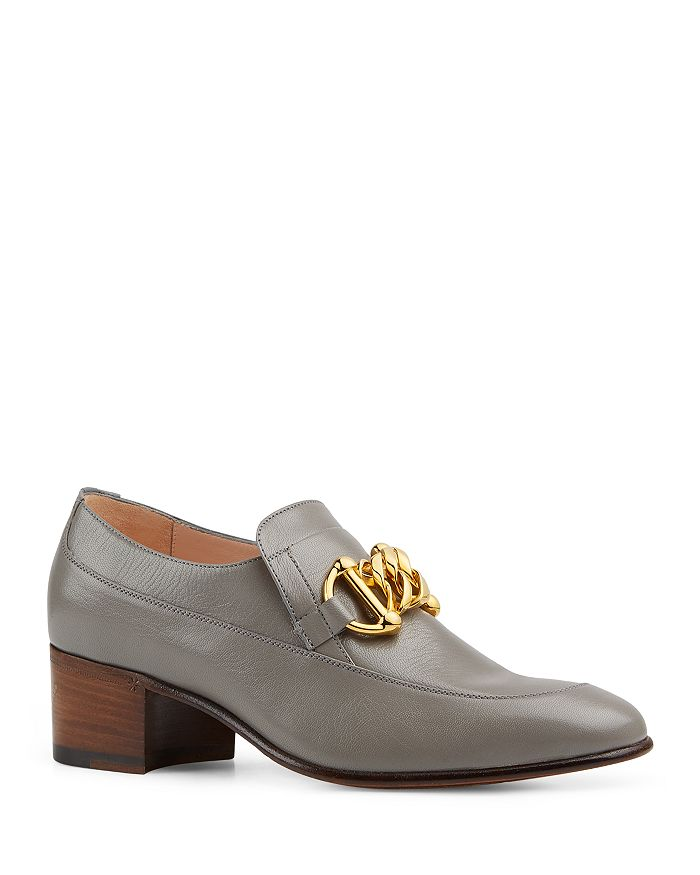 Gucci - Women's Leather Horsebit Chain Loafers