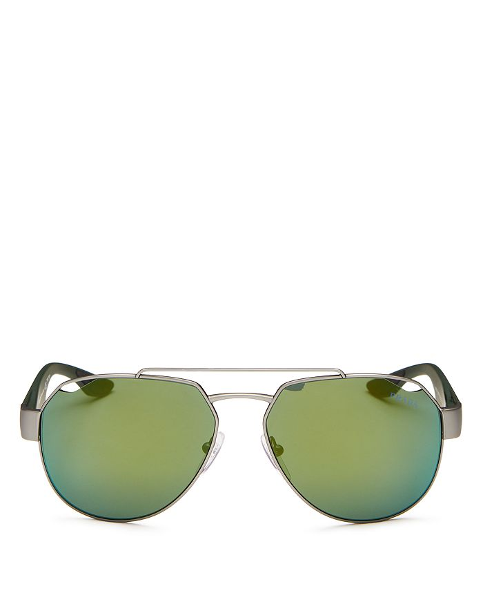 Prada Men's Brow Bar Aviator Sunglasses, 59Mm In Gunmetal Rubber/Light Green Mirror