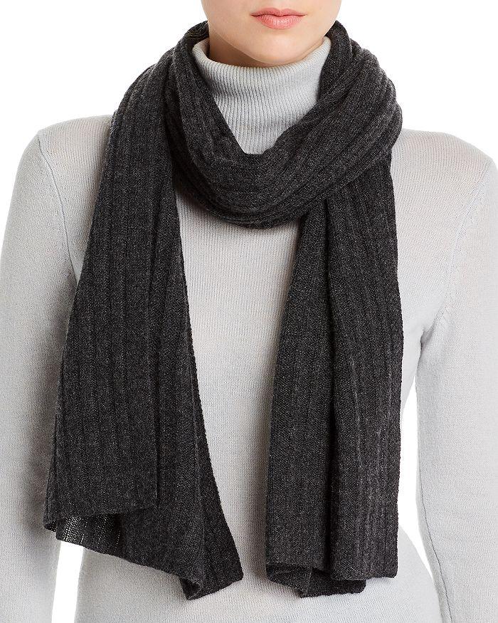 AQUA - Rib-Knit Cashmere Scarf - 100% Exclusive