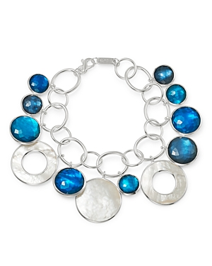 Ippolita Sterling Silver Wonderland Chain Link Bracelet with Mother-of-Pearl Doublet in Blue Moon