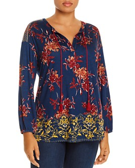 Daniel Rainn Plus - Printed Tie-Neck Top