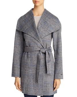 T Tahari - Double Face Glen Plaid Wrap Coat