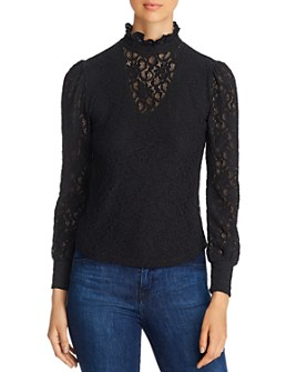 Red Haute - Ruffle-Neck Lace Top