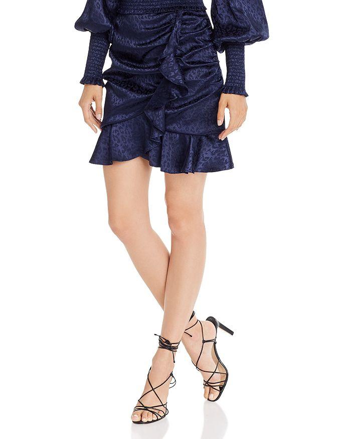 AQUA - Leopard-Pattern Ruffle-Trim Skirt - 100% Exclusive