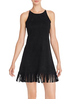 AQUA - Fringed Faux-Suede Shift Dress - 100% Exclusive