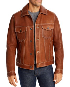 Michael Kors - Burnished Leather Trucker Jacket