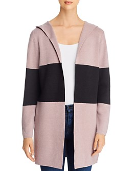 Sioni - Color-Block Hooded Cardigan Sweater