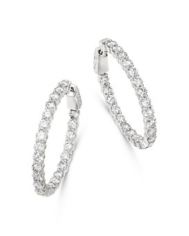 Bloomingdale's - Diamond Oval Inside Out Hoop Earrings in 14K White Gold, 5.0 ct. t.w. - 100% Exclusive
