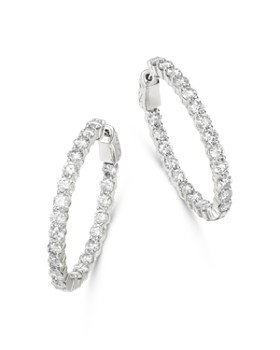 Bloomingdale's - Diamond Oval Inside Out Hoop Earrings in 14K White Gold, 5.0 ct. t.w. - 100% Exclusive
