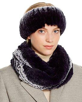Maximilian Furs - Rabbit Fur Infinity Scarf & Headband - 100% Exclusive