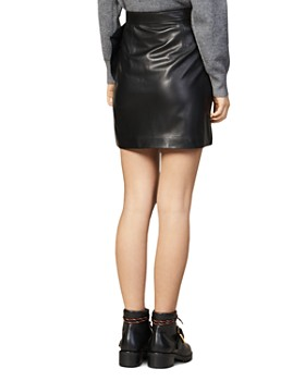 Sandro - Hanna Ruffled Leather Mini Skirt