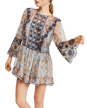 Free People - Country Roads Embroidered Mini Dress