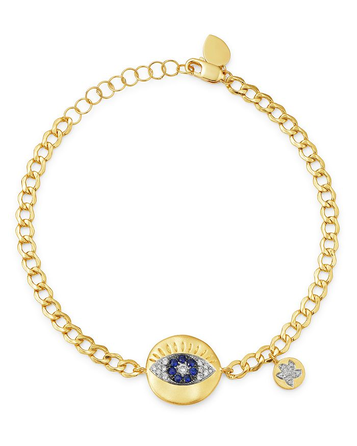 Meira T - 14K Yellow Gold Evil Eye Disc Bracelet with Diamonds & Sapphires