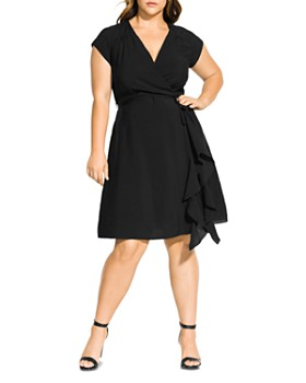 City Chic Plus - Faux-Wrap Ruffle Dress